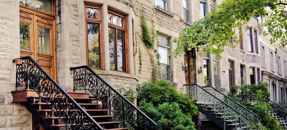 Maisons en rangée, Le Plateau-Mont-Royal, Montréal, Québec, Canada