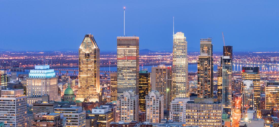 Vue de Montréal au coucher du soleil, Québec, Canada